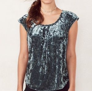 Velvet Pleated Neck Top NEW W/ TAGS